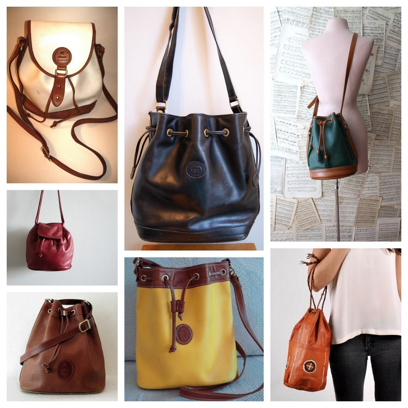 ... newest 3957b f6bce Clockwise from top left Vintage Balmain Leather Drawstring  Bucket Bag 135. 13a3c2a275